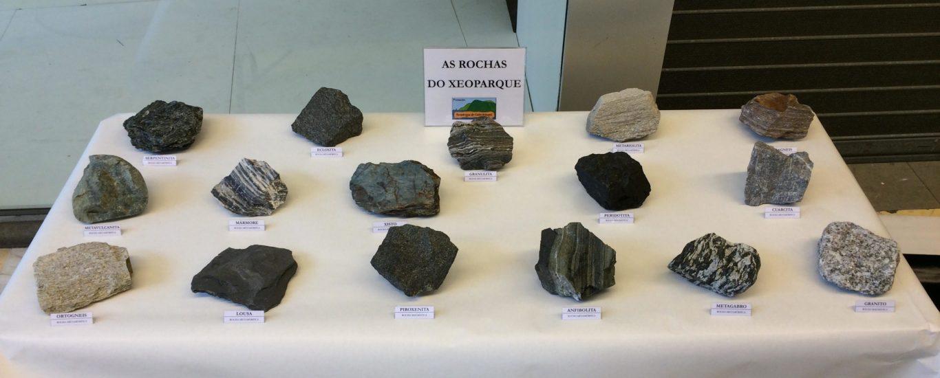 Mostrario de rochas que se poden atopar na zona do Ortegal, algunhas delas pouco habituais en superficie